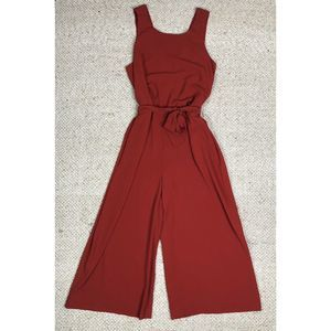 Zara Red Sleeveless Tie Waist Wide Leg Jumpsuit